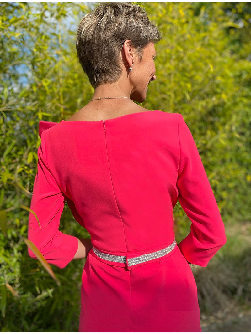 Robe midi ceinture à strass - Rouge