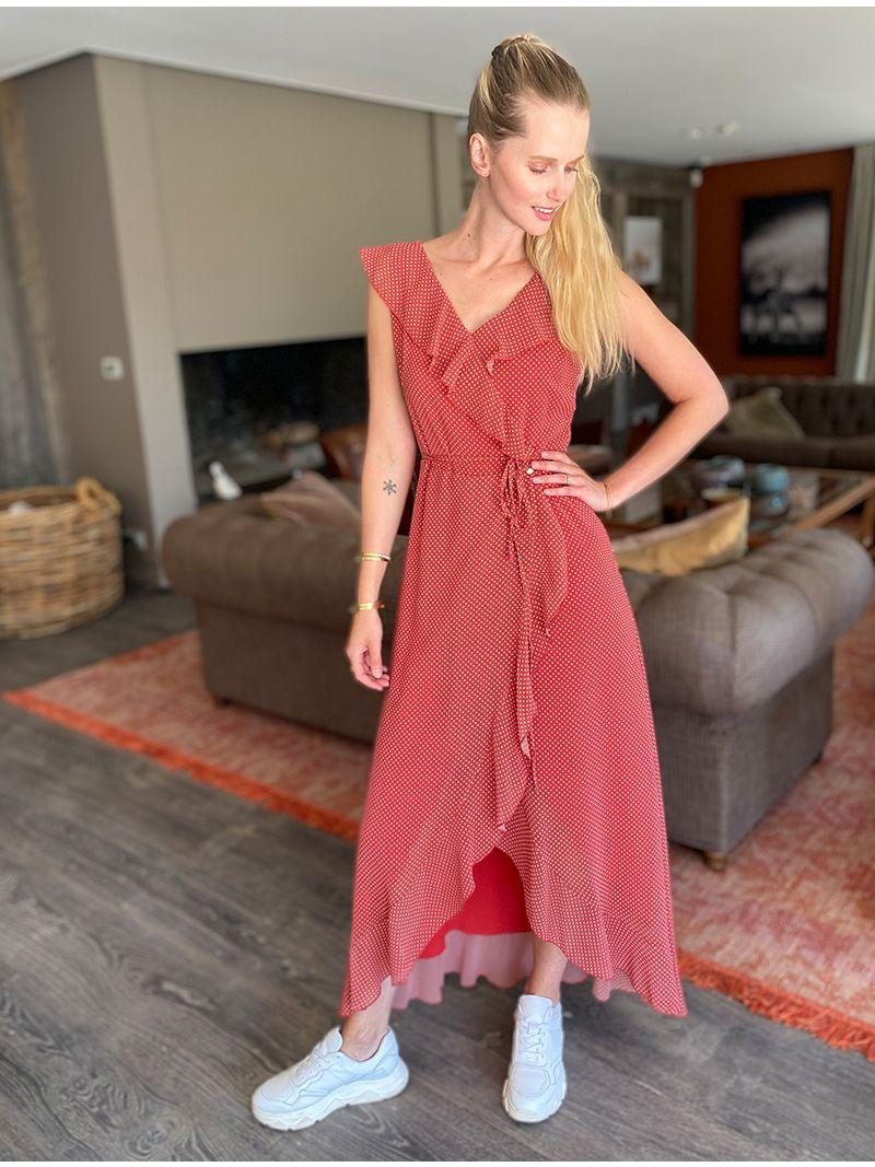 Robe longue en voile - Rouge