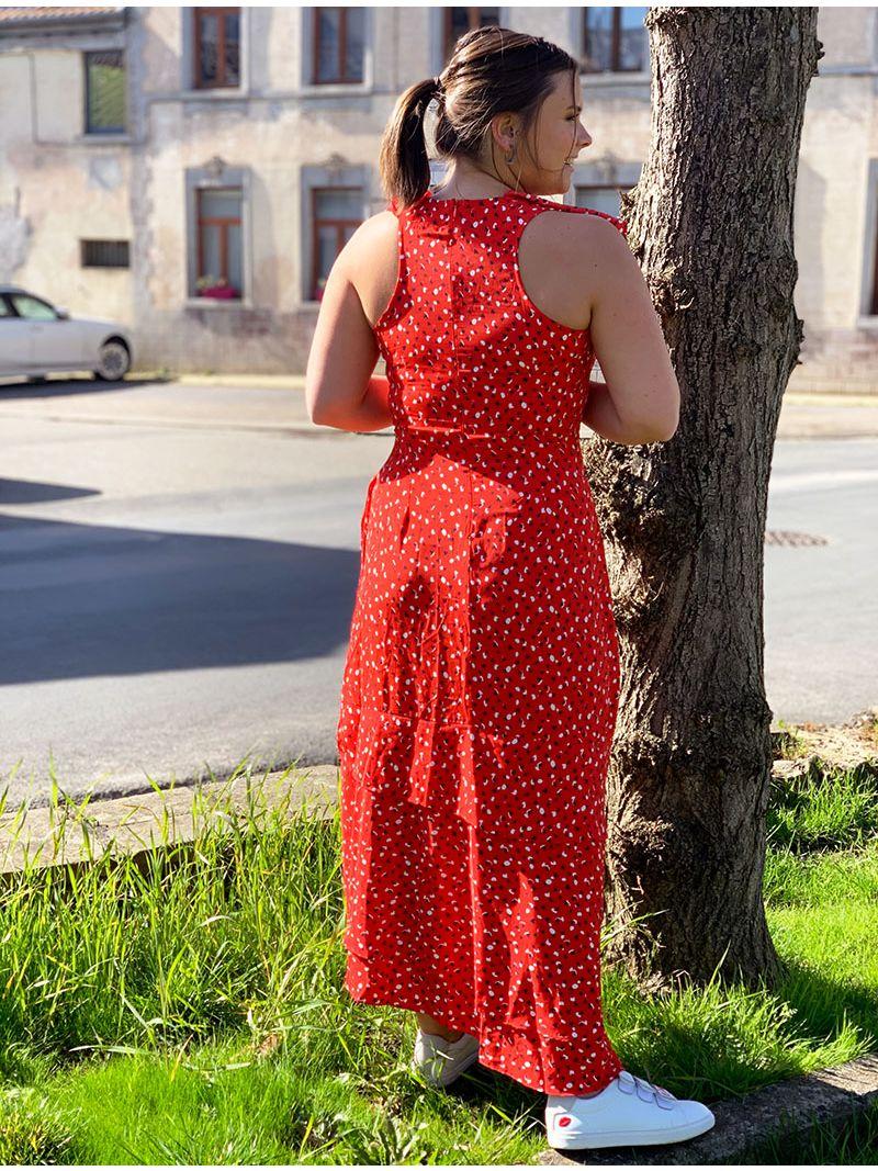 Robe longue à volants - Rouge