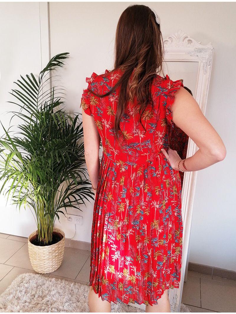 Robe courte à motifs floraux - Rouge