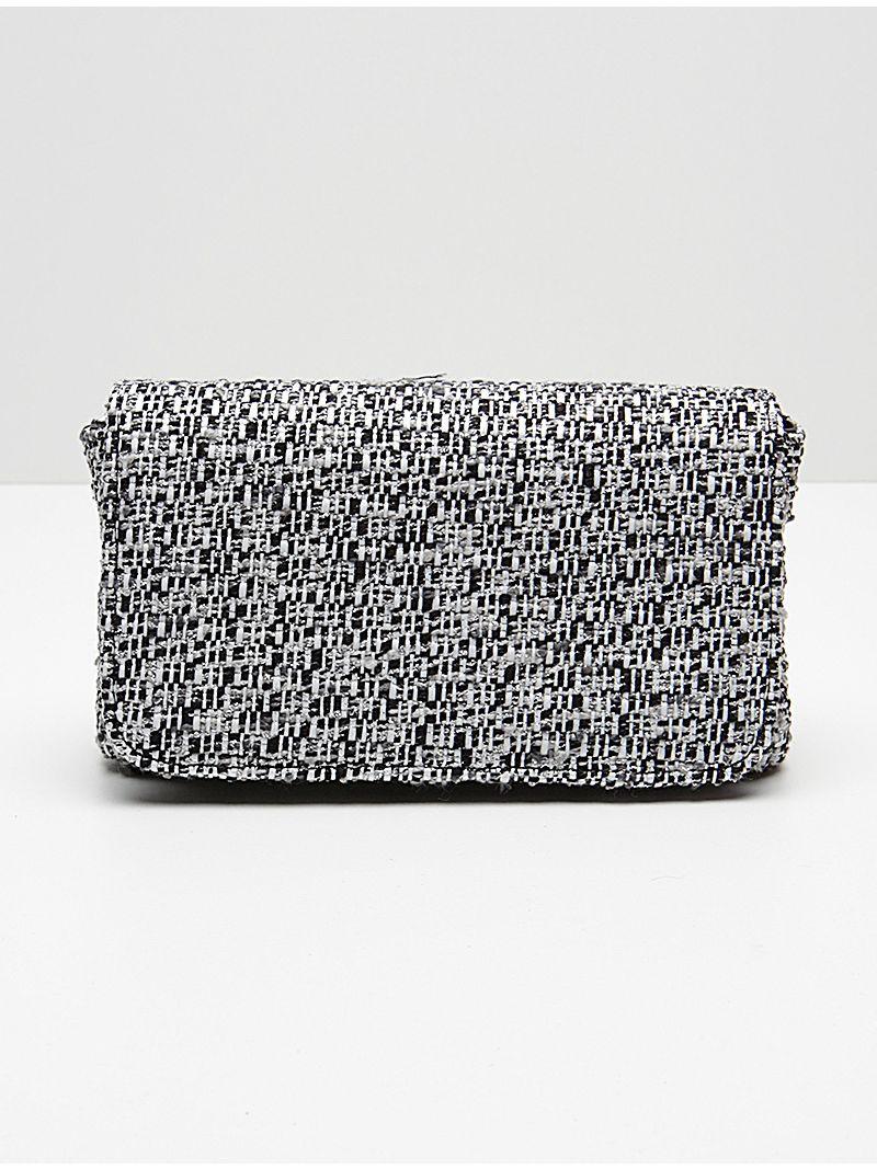 Petite pochette en tissu noire et blanche