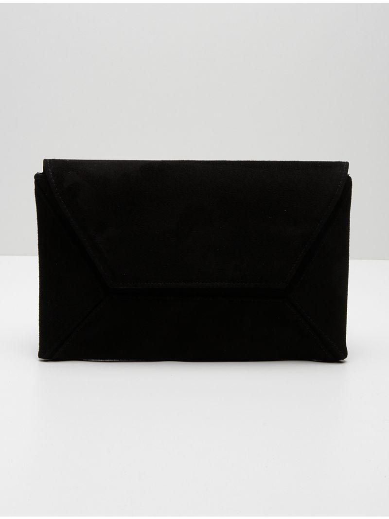 Pochette plate rectangulaire en daim  - Noir