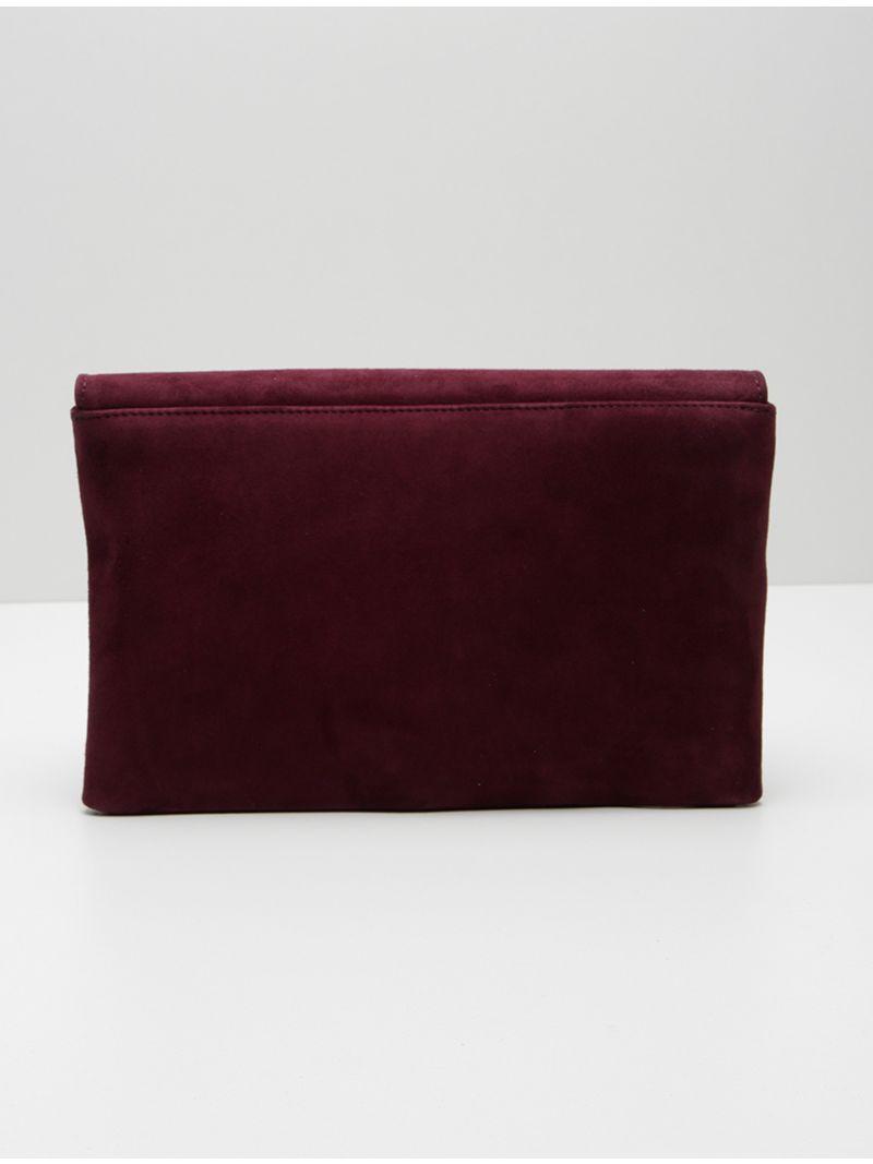 Pochette plate rectangulaire en daim - Mauve