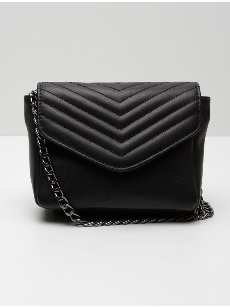 Petit sac à main en cuir matelassé - Noir