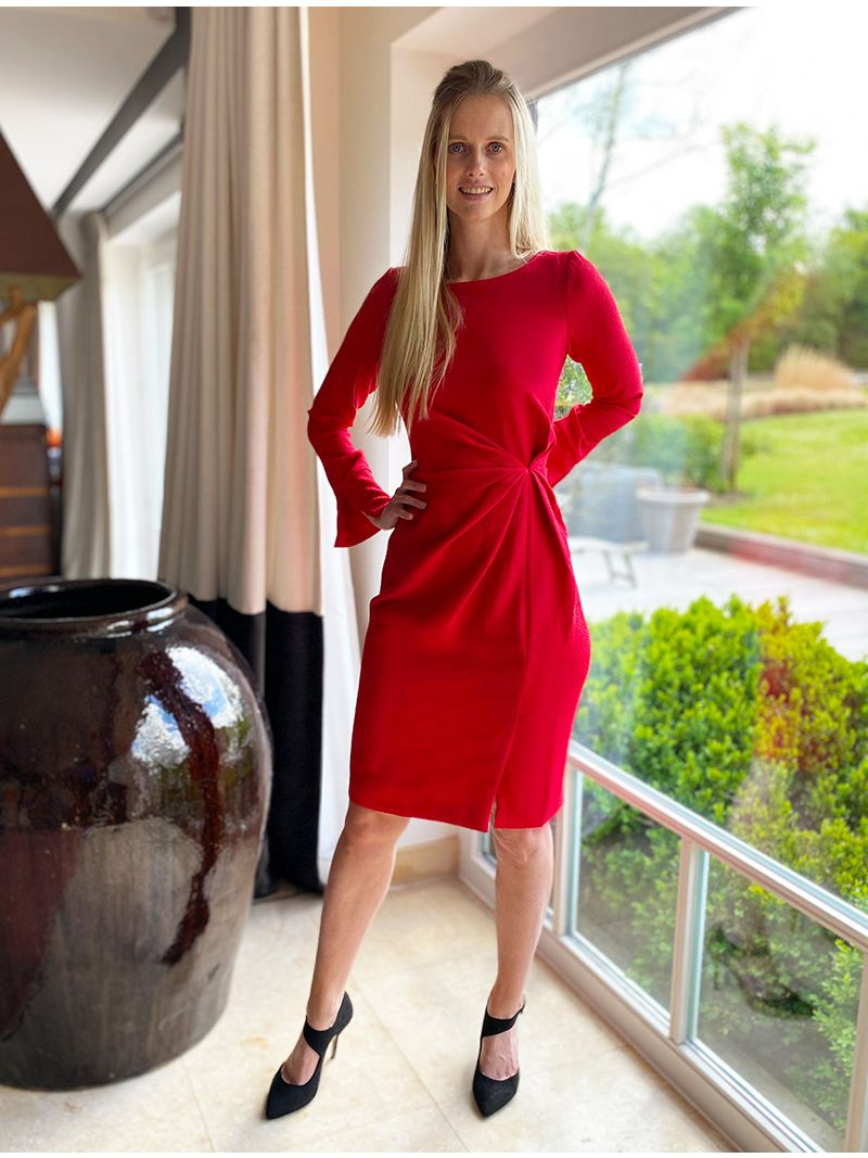 Robe courte à manche longue - Rouge