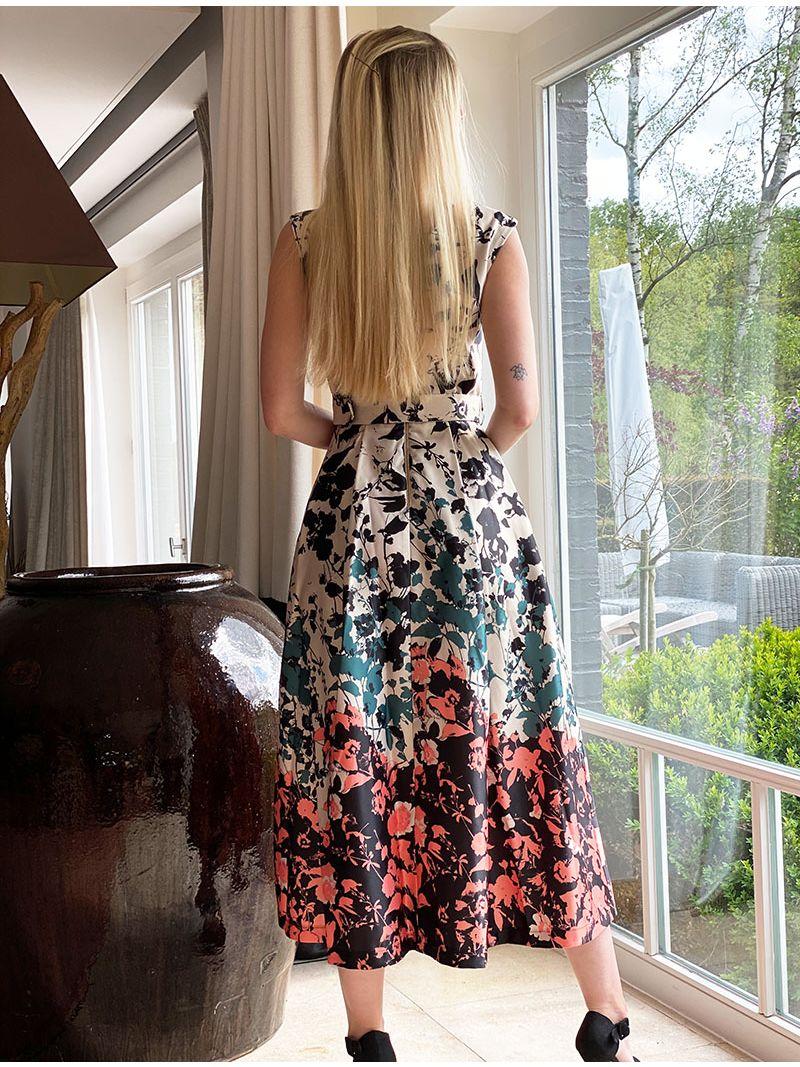Robe longue à motifs - Beige
