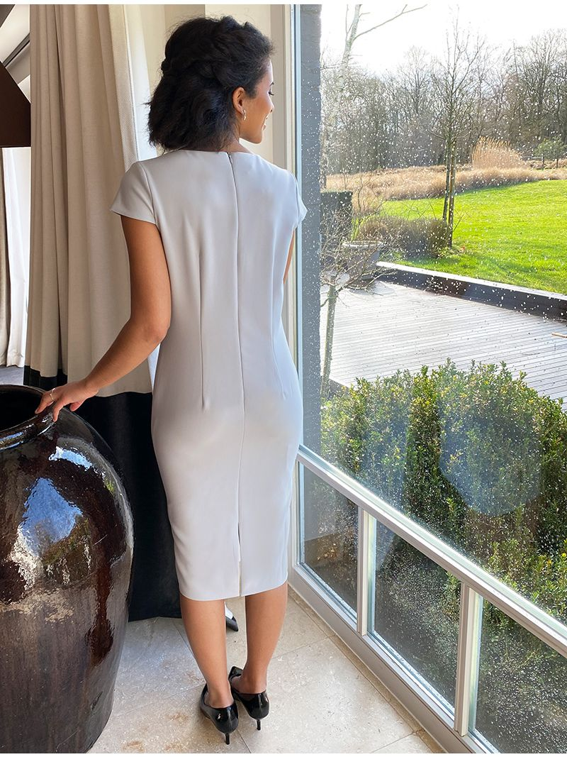 Robe mi-longue à manche courte et veste en dentelle - Gris