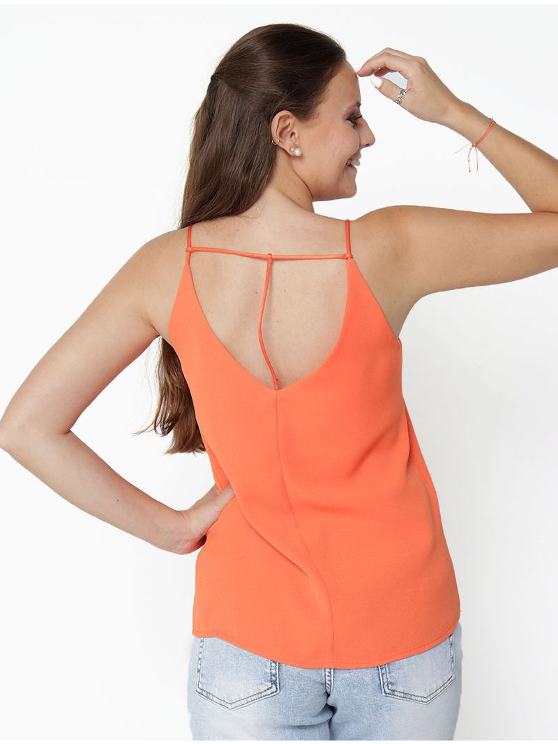 Top fluide ouvert dans le dos - orange