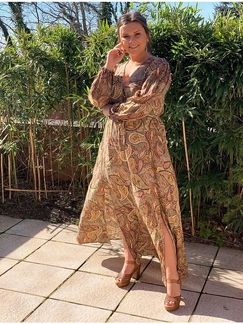 Robe longue à motifs - Kaki