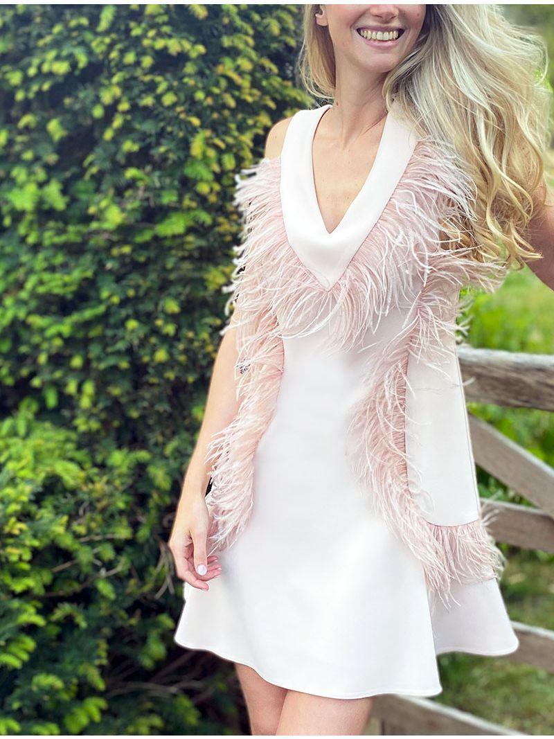 Robe à plumes avec décolleté plongeant - Rose Pâle