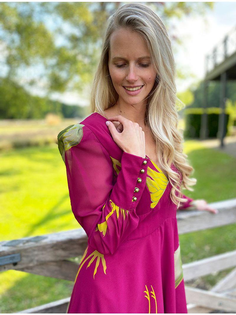 Robe mi-longue en voile - Fuchsia