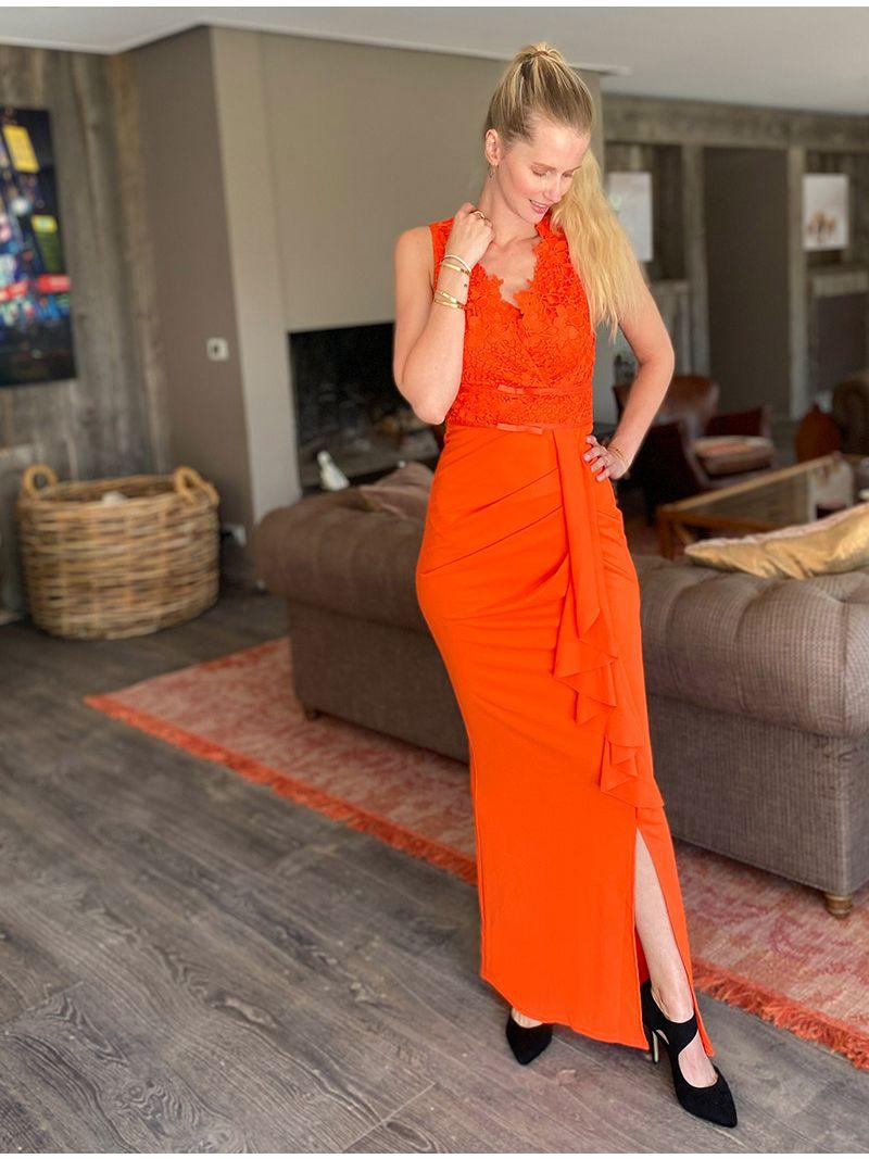 Robe longue plissée et bustier dentelle - Orange