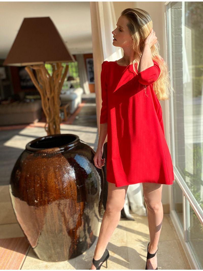 Robe courte à manche ¾ - Rouge