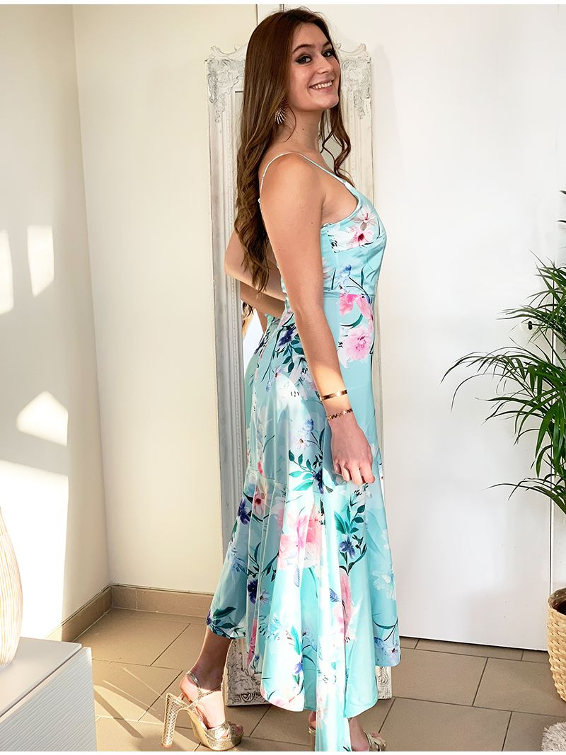 Robe asymétrique à motif fleuri - Bleu clair