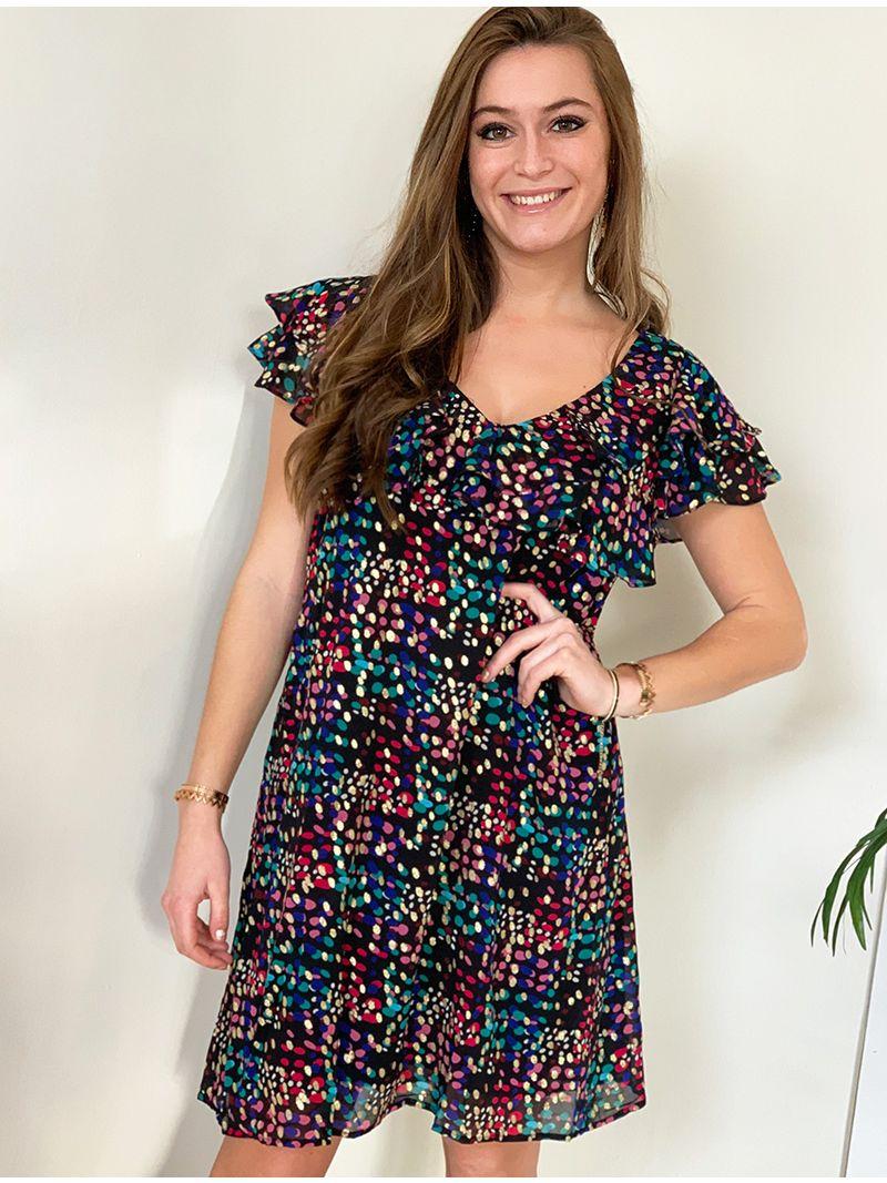 Robe courte en voile à motifs - multicolore