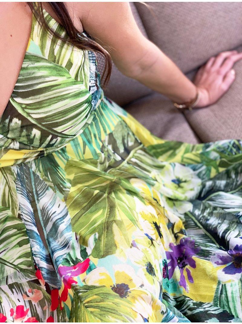 Robe mi-longue imprimé tropical - jaune