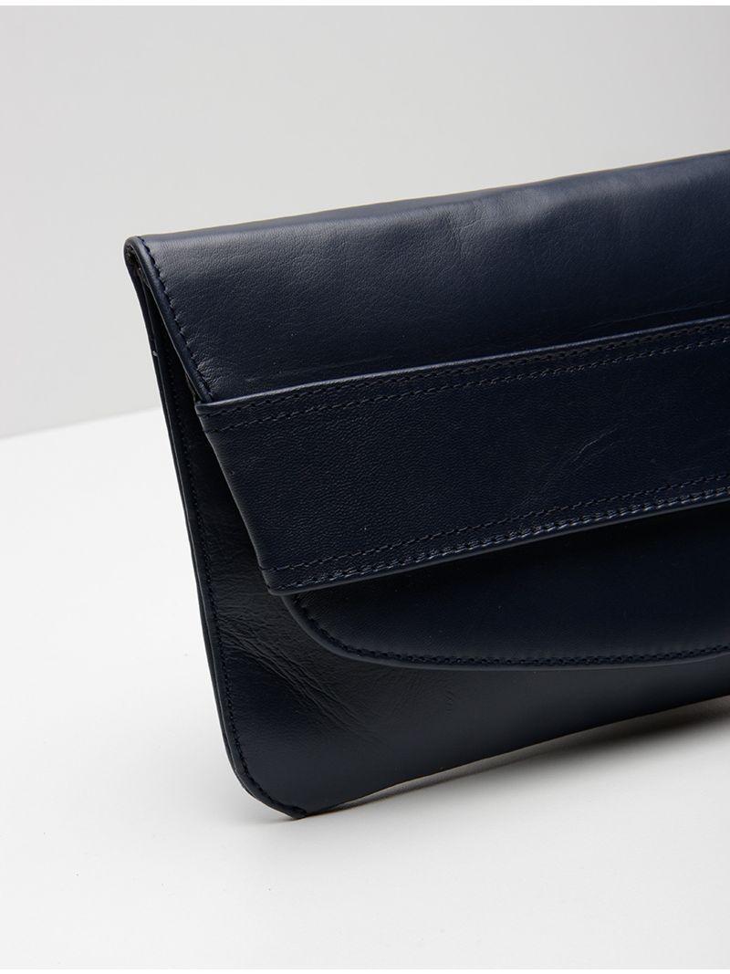 Pochette rectangulaire plate en cuir - Bleu Marine