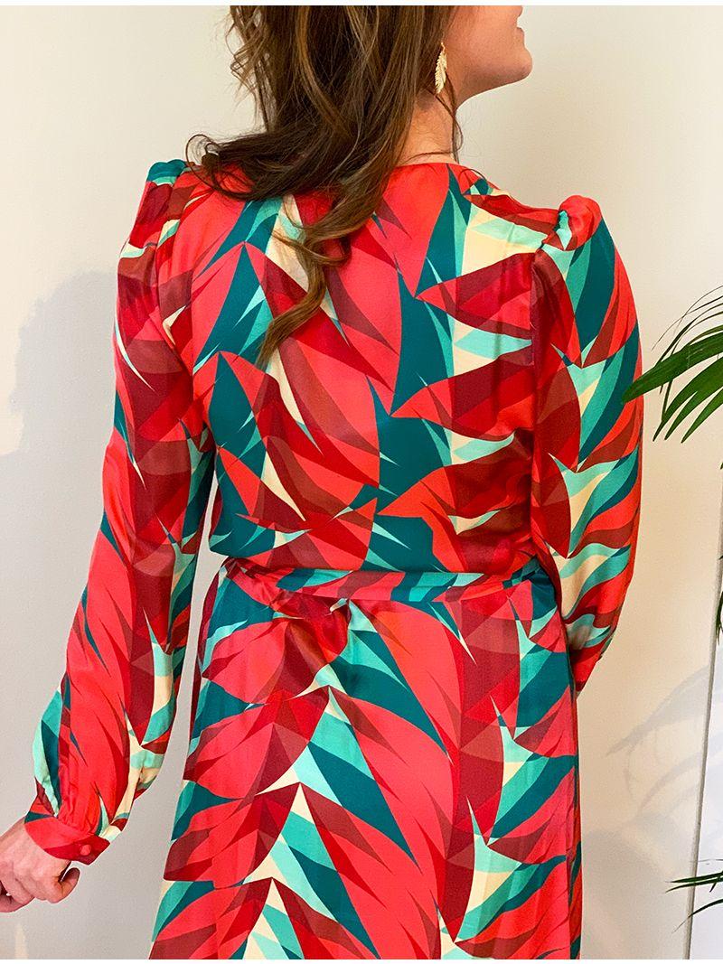 Robe courte à manches longues - Rouge