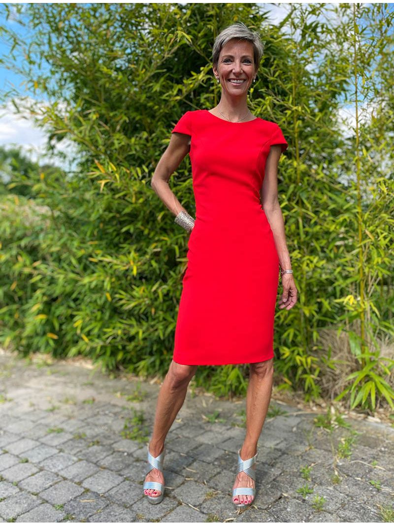 Robe manches courtes - rouge