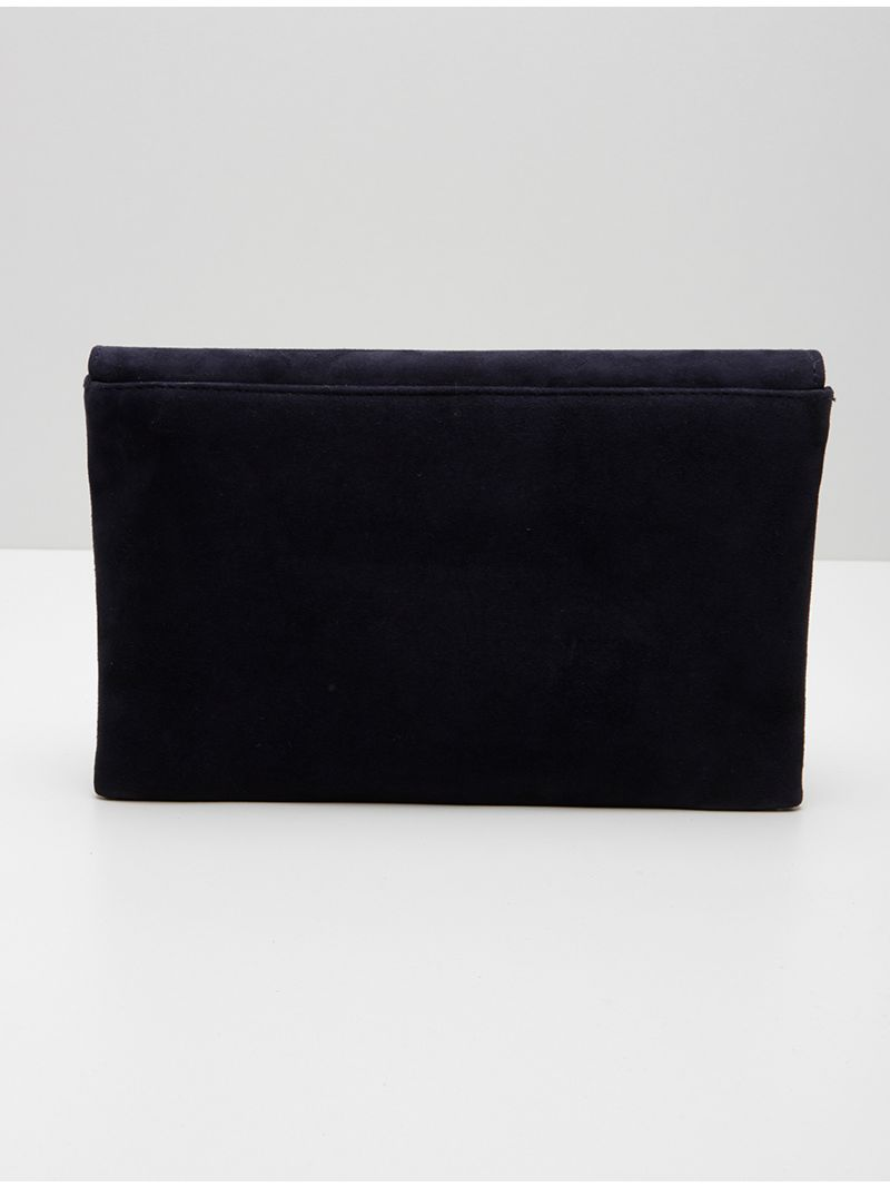 Pochette plate rectangulaire en daim - Bleu Marine