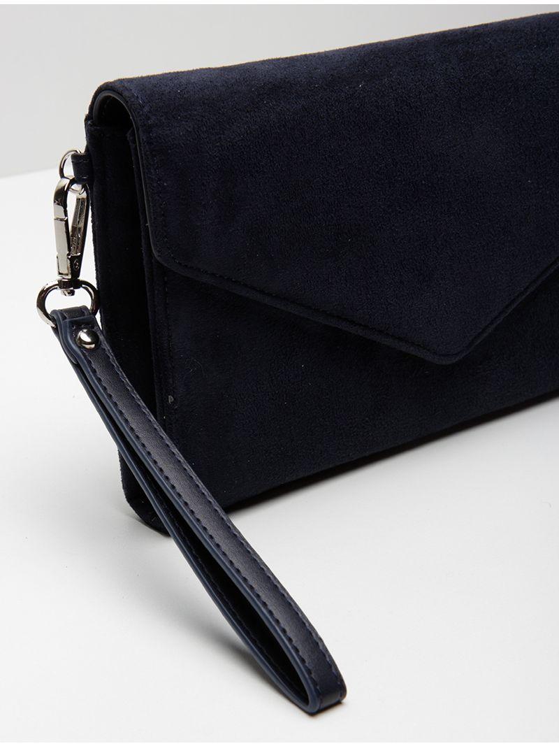 Pochette avec porte cartes en suèdine - Bleu Marine