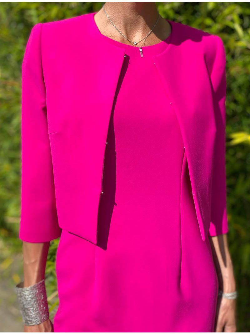 Robe manches courtes - Fuchsia