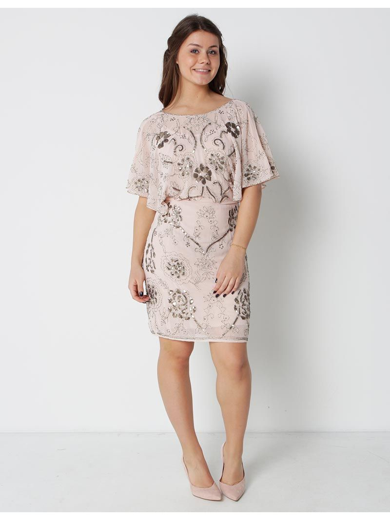 Robe courte à perles - rose pâle