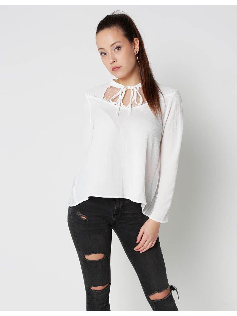 Blouse semi-transparente - blanc