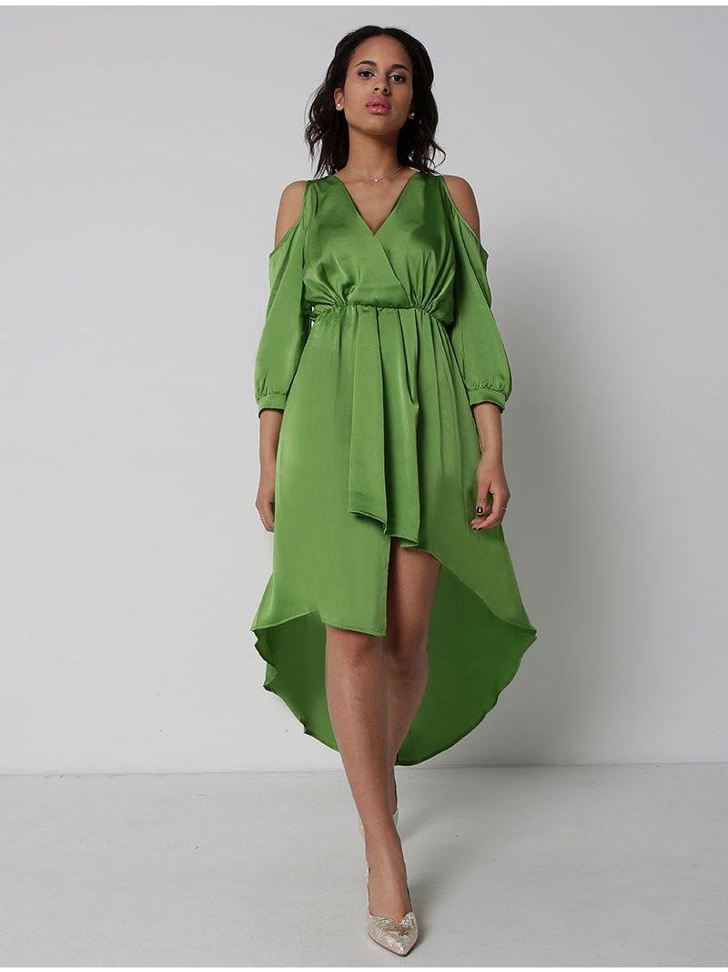 Robe asymétrique manches ¾ - vert