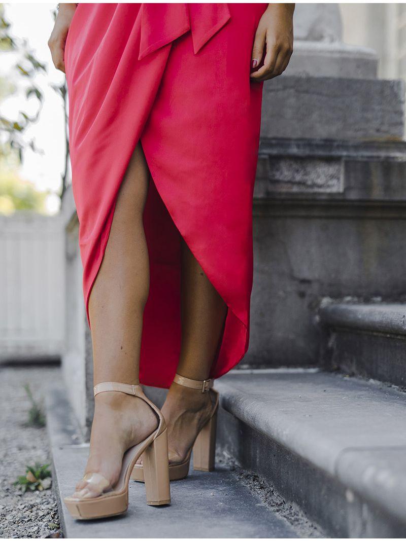 Robe de soirée en soie avec fente - Rouge Framboise
