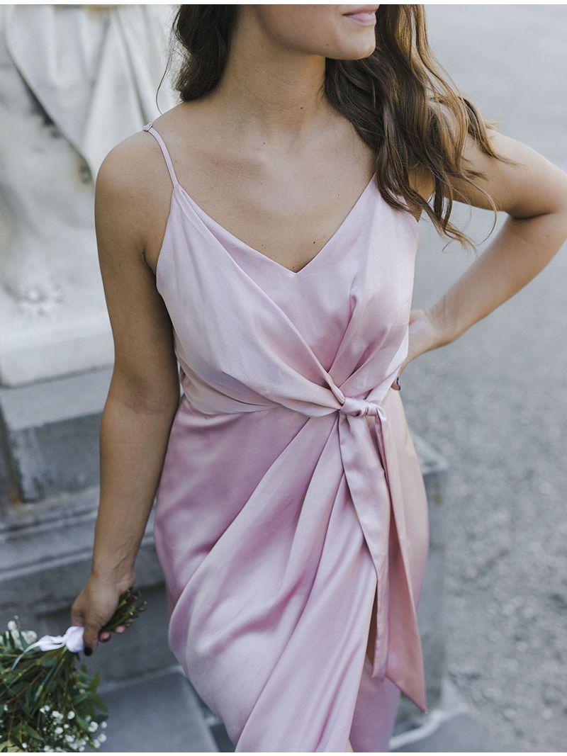 Robe de soirée en soie avec fente - Rose poudré