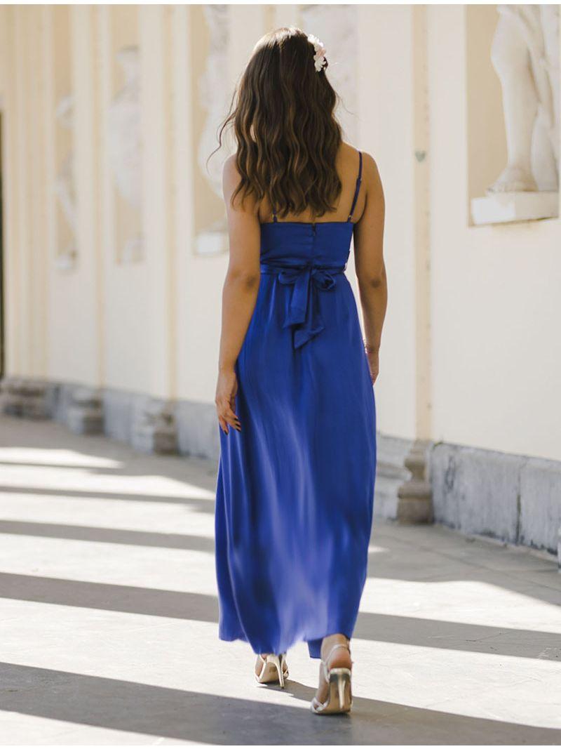 Robe de soirée en soie avec fente - Bleu Roi