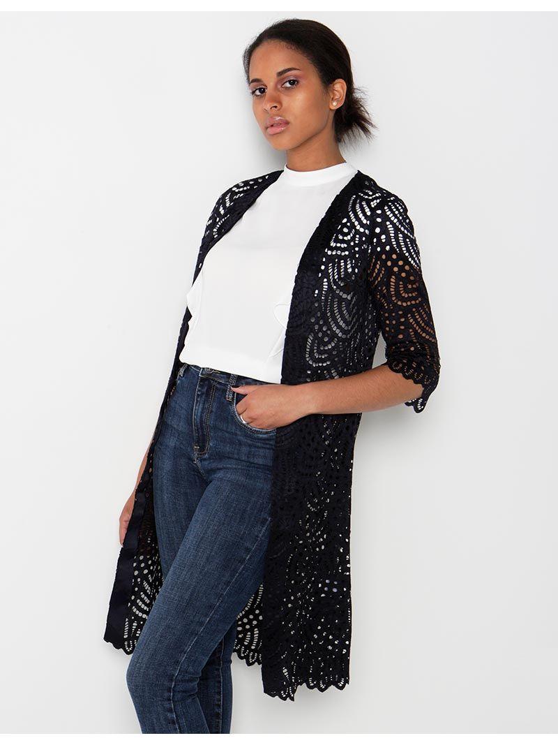 Kimono en dentelle - bleu marine