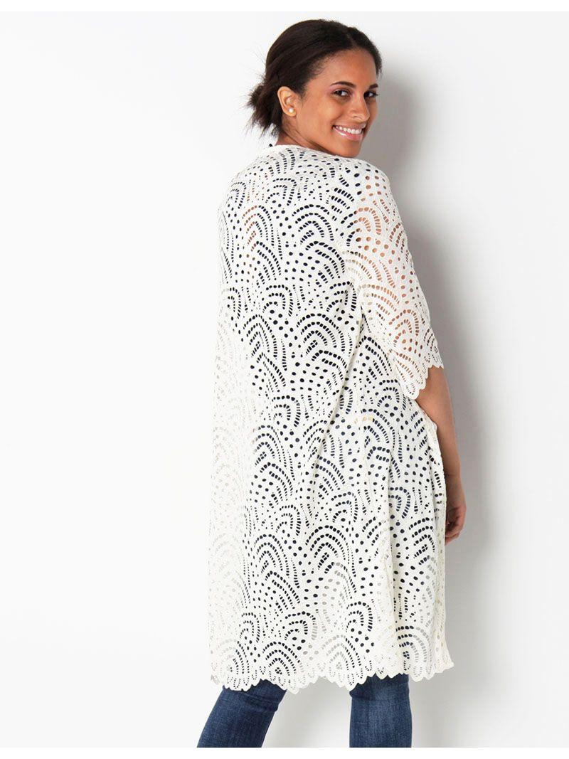 Kimono en dentelle - crème