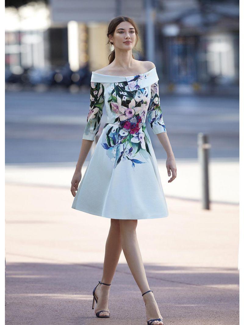 861759d431 Robe mi-longue évasée style bardot | Anne Sophie