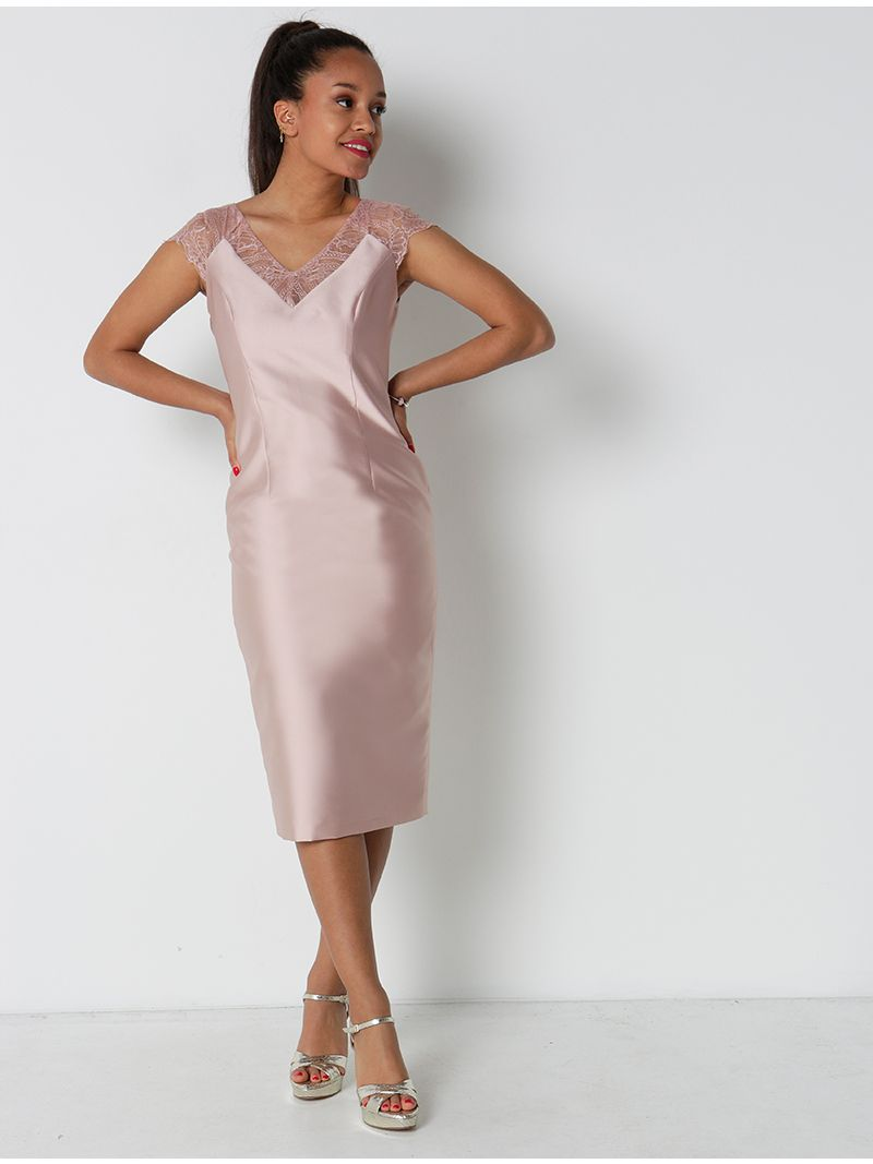 Ensemble robe mi-longue et veste lignée - rose pâle