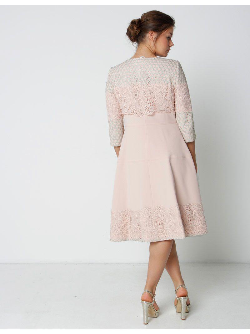 Ensemble robe mi-longue avec manteau à dentelle - rose