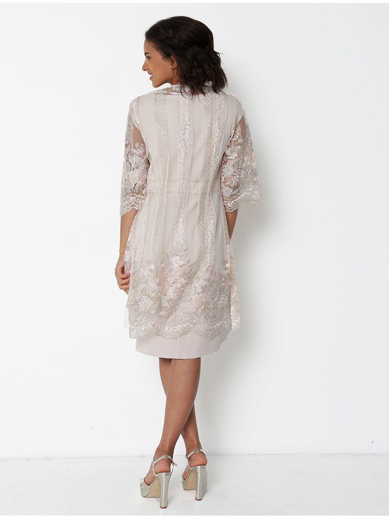 Ensemble robe droite et gilet en dentelle - rose pâle