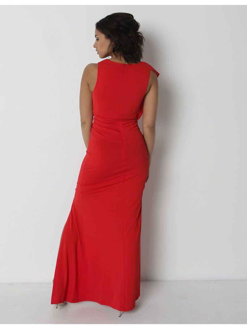 b1614c25037 Robe longue de soirée avec fente - rouge