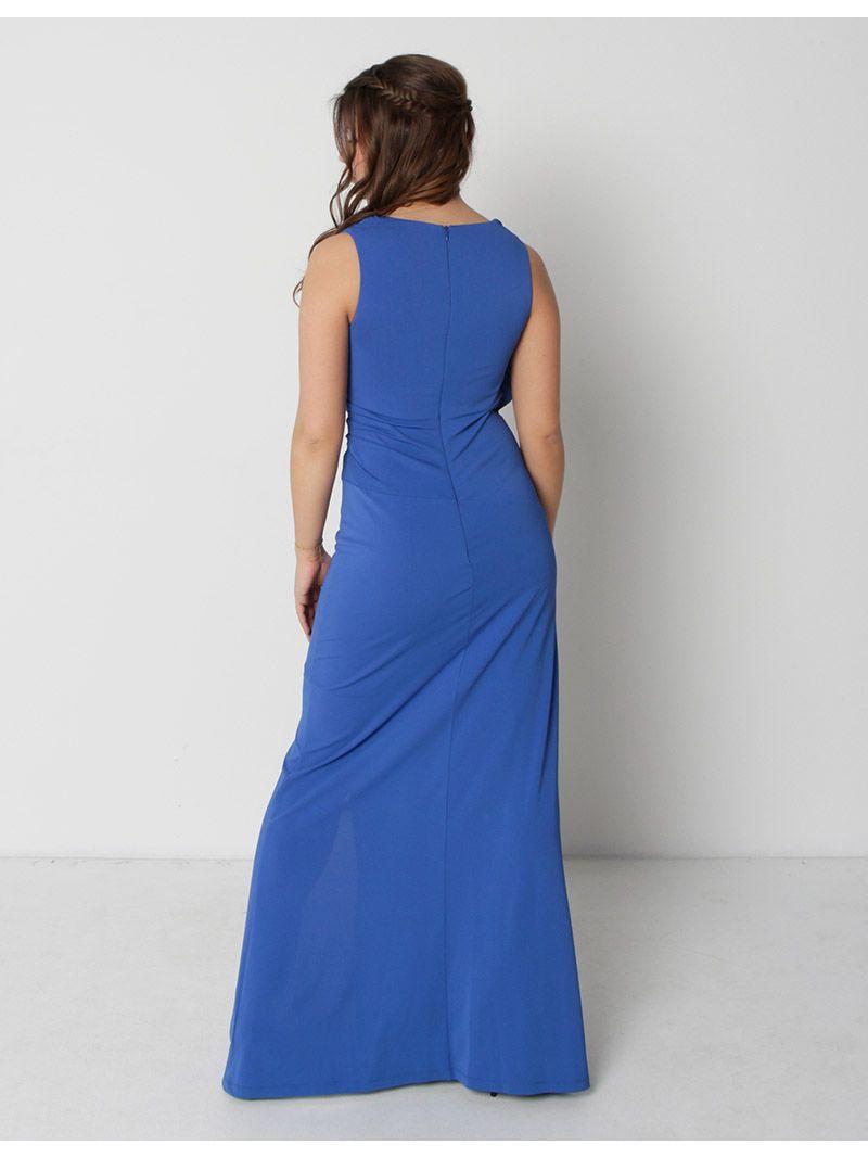 Robe longue de soirée avec fente - bleu roi
