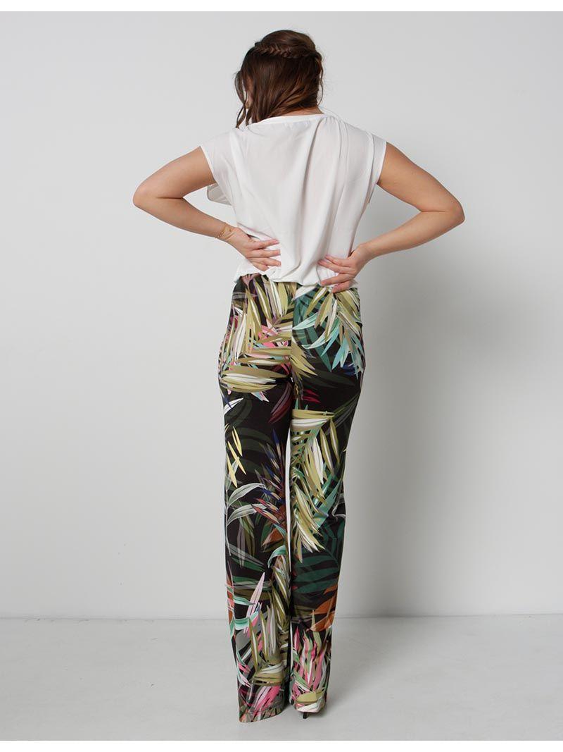 Pantalon à imprimé exotique - vert