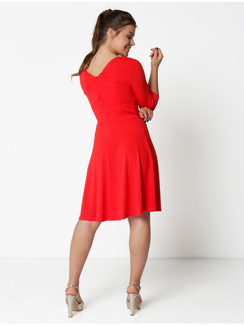 Robe patineuse manches ¾ - rouge