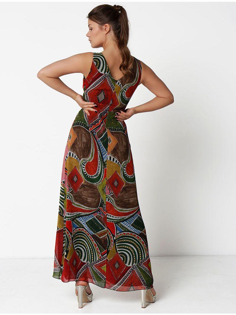 Robe longue imprimé graphique - kaki