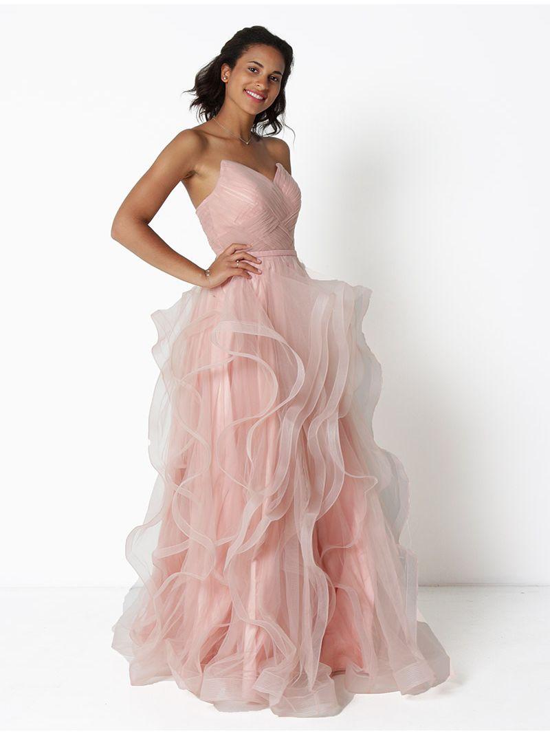 571df53466885c Lange bustier jurk in tule - licht roze