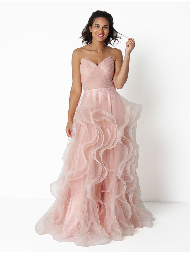 design intemporel 983e5 e5d3c Robe longue bustier en tulle - rose pâle