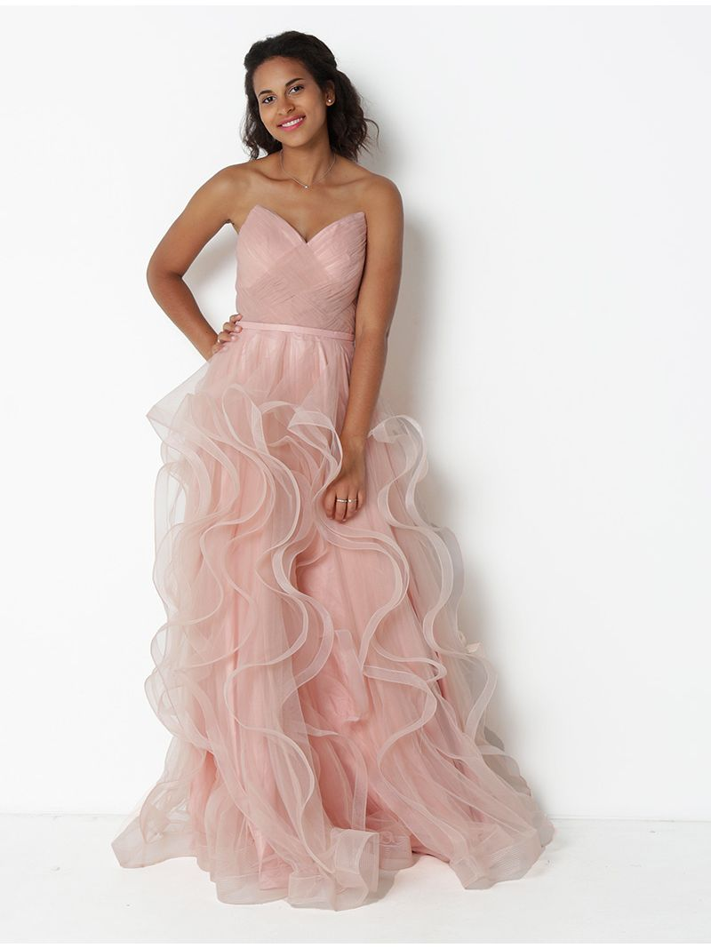 Robe longue bustier en tulle - rose pâle