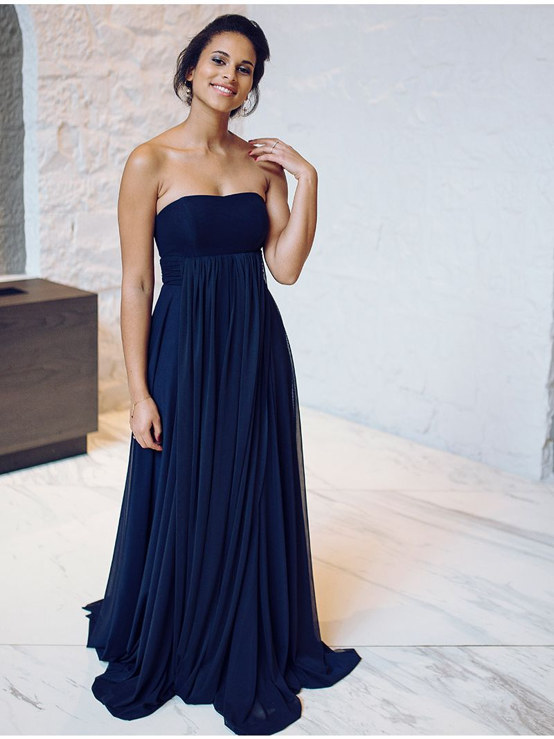 Robe De Demoiselle D Honneur Multi Attaches Bleu Marine Anne Sophie