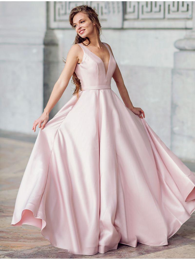 Robe Longue Satinee Avec Decollete Plongeant Rose Pale Anne Sophie