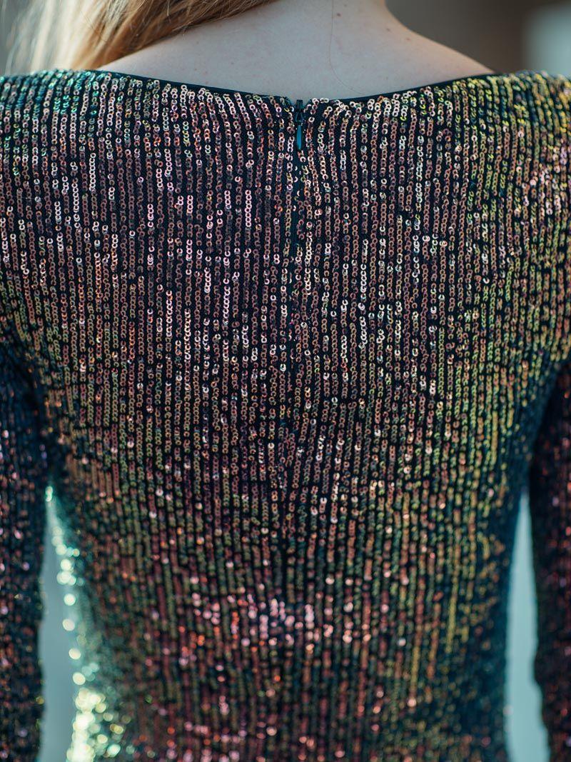 Robe courte et moulante à paillettes - Multicolore