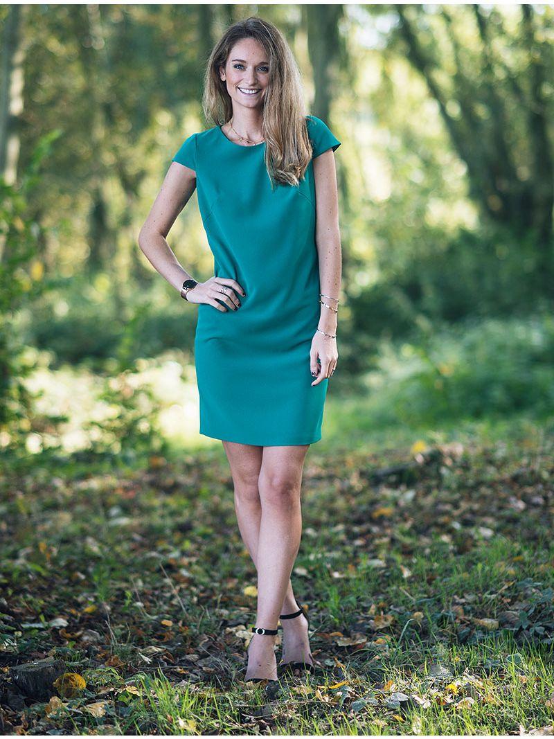 Robe courte droite avec petites manches - Vert